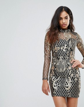 photo High Neck Sequin Embroidery Dress by Club L, color Gold - Image 1
