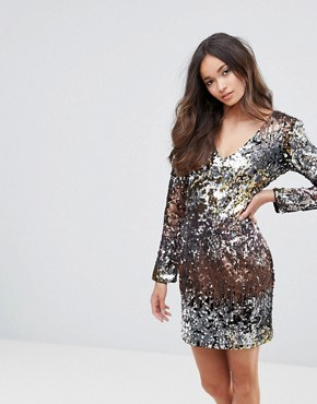 photo V-Neck Ombre Sequin Mini Dress by Club L, color Multi - Image 1