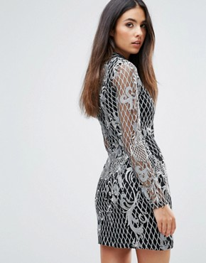 photo High Neck Sequin Embroidery Dress by Club L, color Silver - Image 2