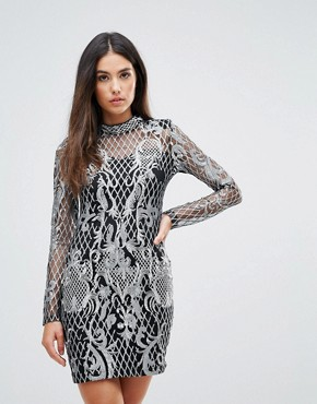 photo High Neck Sequin Embroidery Dress by Club L, color Silver - Image 1