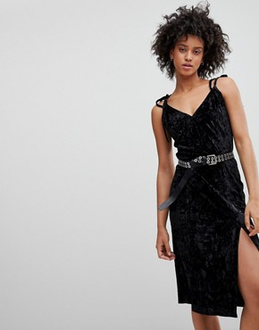 photo Crushed Velvet Midi Dress by NYTT, color Black - Image 1