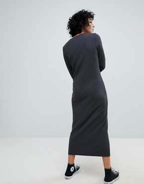photo Front Seam Maxi Dress by NYTT, color Faded Black - Image 2