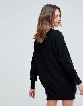 photo Cece Raglan Sleeve Sweat Dress by NYTT, color Black - Image 2