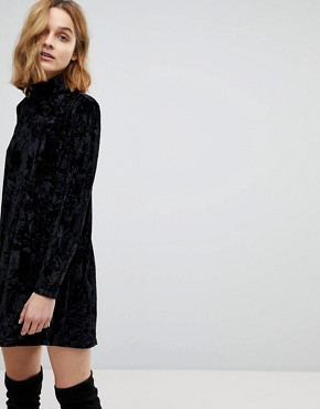 photo Elizabeth Long Sleeved Crushed Velvet Dress by NYTT, color Black - Image 2