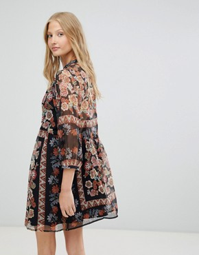 photo Tracey Floral Print Shift Dress by d.RA, color Russian Doll - Image 2