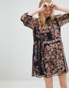 photo Tracey Floral Print Shift Dress by d.RA, color Russian Doll - Image 1