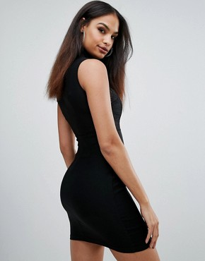 photo High Neck Lace Bodycon Dress by Rare, color Black - Image 2