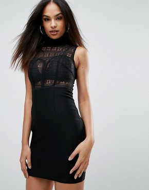 photo High Neck Lace Bodycon Dress by Rare, color Black - Image 1
