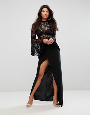 photo Lace Flute Sleeve High Neck Maxi Dress with Wrap Front Skirt by Club L, color Black - Image 1