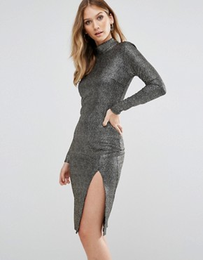 photo High Neck Textured Metallic Bodycon Dress with Thigh Split by Club L, color Gold - Image 1