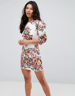 photo Placement Print Mini Dress with Shoulder Detail by Club L, color White Base Print - Image 1