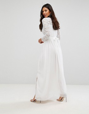 photo High Neck Crochet Maxi Dress by Club L, color Ivory - Image 2