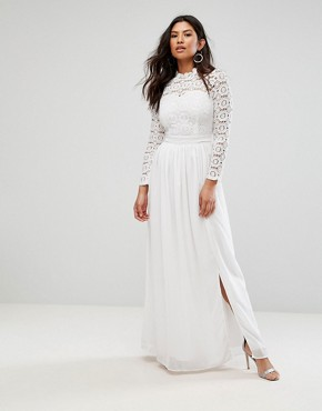 photo High Neck Crochet Maxi Dress by Club L, color Ivory - Image 1