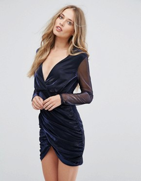 photo Wrap Over Metallic Dress by Club L, color Navy - Image 1