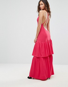 photo Plunge Neck Ruffle Layer Detail Maxi Dress by Club L, color Red Rouge - Image 2