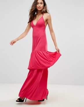photo Plunge Neck Ruffle Layer Detail Maxi Dress by Club L, color Red Rouge - Image 1