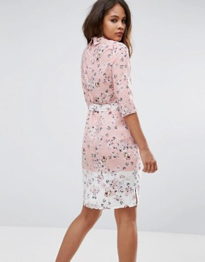 photo Belted Shirt Midi Dress in Floral Print by Vesper Tall, color Blush - Image 2