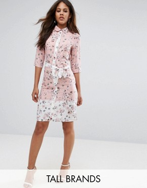 photo Belted Shirt Midi Dress in Floral Print by Vesper Tall, color Blush - Image 1