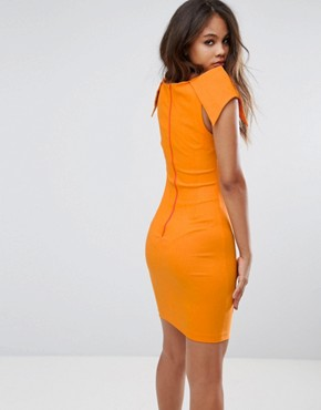 photo Pencil Dress with Origami Shoulders by Vesper Tall, color Tangerine Orange - Image 2