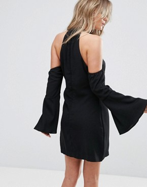 photo Over It Cold Shoulder Shift Mini Dress by WYLDR, color Black - Image 2