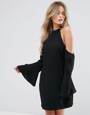 photo Over It Cold Shoulder Shift Mini Dress by WYLDR, color Black - Image 1