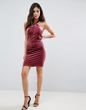 photo Isabelle Velvet Mini Dress with Twist Front Detail by WYLDR, color Pink - Image 4