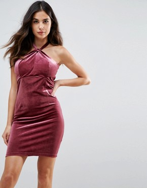photo Isabelle Velvet Mini Dress with Twist Front Detail by WYLDR, color Pink - Image 1