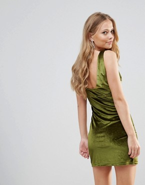 photo Distractions Velvet Mini Dress with Front Pleating Detail by WYLDR, color Green - Image 2