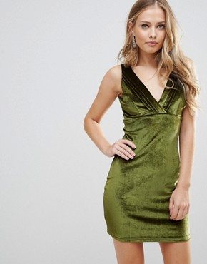 photo Distractions Velvet Mini Dress with Front Pleating Detail by WYLDR, color Green - Image 1