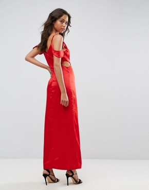 photo Windslow Corvette Satin Dress with Off the Shoulder Frill and Waist Cut Out by WYLDR, color Red - Image 2