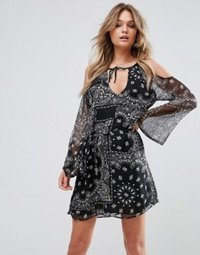 photo Steady Beat Paisley Printed Day Dress with Cold Shoulder and Waist Tie by WYLDR, color Black - Image 1