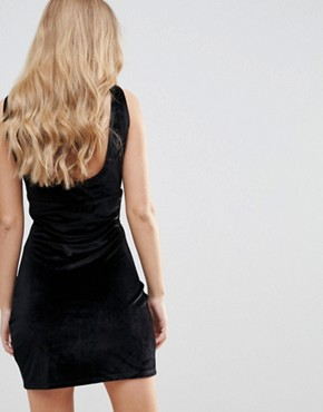 photo Distractions Velvet Mini Dress with Front Pleating Detail by WYLDR, color Black - Image 2