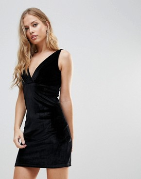 photo Distractions Velvet Mini Dress with Front Pleating Detail by WYLDR, color Black - Image 1