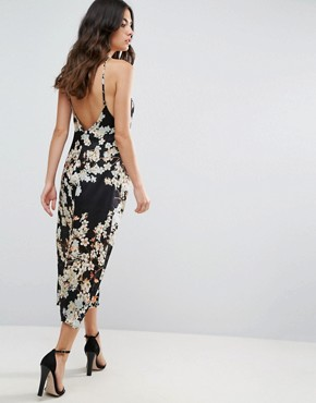 photo Slave to the Rhythm Magic Flower Printed Midi Slip Dress with Low V-Back by WYLDR, color Black - Image 2