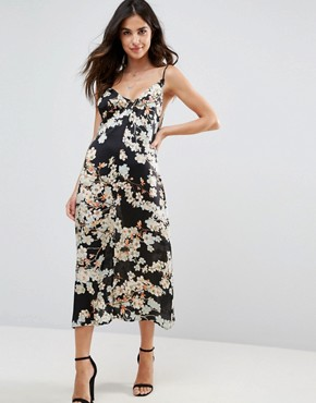 photo Slave to the Rhythm Magic Flower Printed Midi Slip Dress with Low V-Back by WYLDR, color Black - Image 1