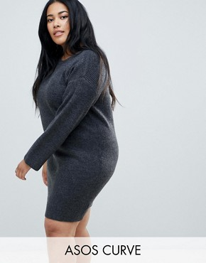 photo Knitted Oversized Mini Dress by ASOS CURVE, color Charcoal - Image 1