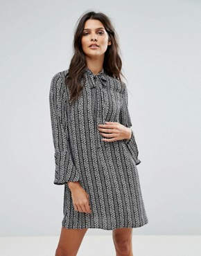 photo Janey Striped Leaf Printed Shift Dress with Bell Sleeves and Neck Tie by Goldie, color Multi - Image 1
