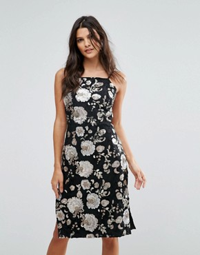 photo Metallic Floral Sequin Midi Dress by Goldie, color Multi - Image 1