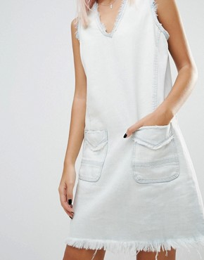 photo All About Me Frayed Hem Denim Tunic Dress by Blank NYC, color White - Image 3