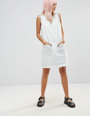 photo All About Me Frayed Hem Denim Tunic Dress by Blank NYC, color White - Image 4
