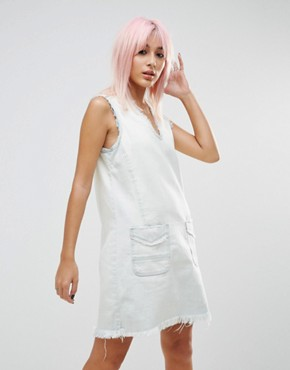 photo All About Me Frayed Hem Denim Tunic Dress by Blank NYC, color White - Image 1