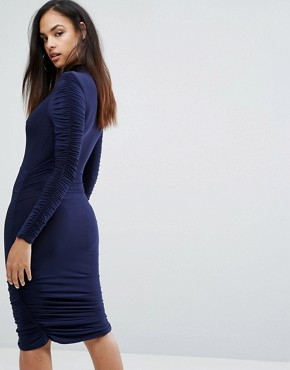photo Power Shoulder Ruched Gathered Detail Dress by Club L, color Navy - Image 2