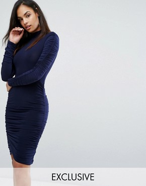 photo Power Shoulder Ruched Gathered Detail Dress by Club L, color Navy - Image 1