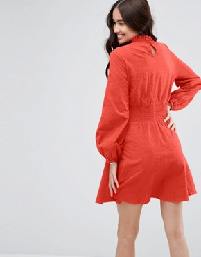 photo Mini Dress in Grid Texture with Shirred Waist by ASOS, color Red - Image 2