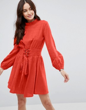 photo Mini Dress in Grid Texture with Shirred Waist by ASOS, color Red - Image 1