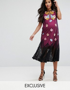 photo Bright Embroidery Mesh Dress by ASOS Maternity, color Black - Image 1