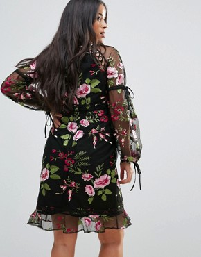 photo Rose Embroidered Shift Dress by ASOS Maternity, color Black - Image 2