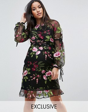 photo Rose Embroidered Shift Dress by ASOS Maternity, color Black - Image 1