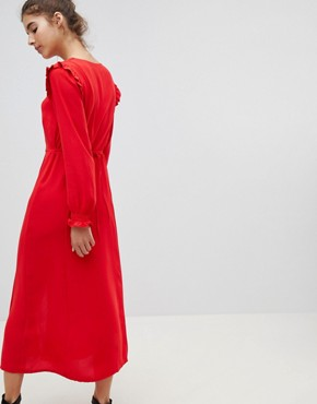 photo Button Front Midi Dress by New Look, color Red - Image 2
