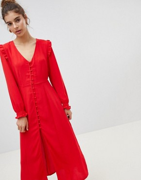 photo Button Front Midi Dress by New Look, color Red - Image 1